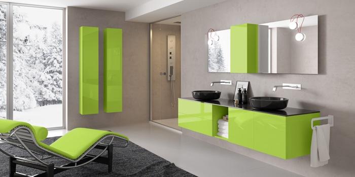 Il mobile da bagno Lounge di ProgettoBagno nella tonalità Greenery, colore dell'anno 2017