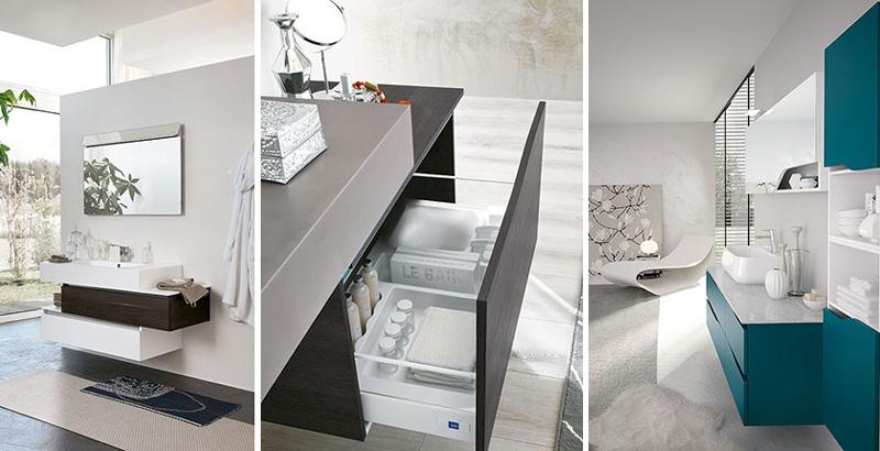 Mobile da bagno moderno componibile Bmt con apertura a gola o mezzagola