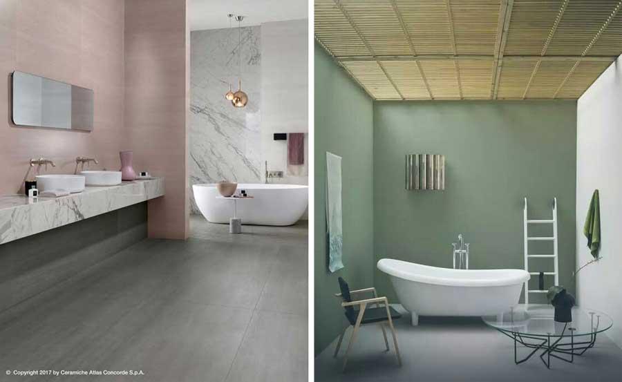 Tonalità del bagno: rosa e verde salvia