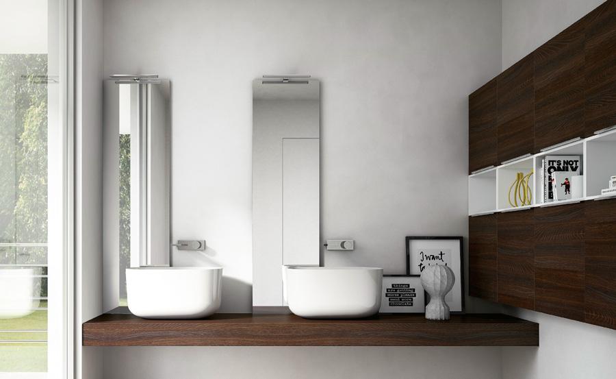 Contenitori per bagno design con specchi doppi