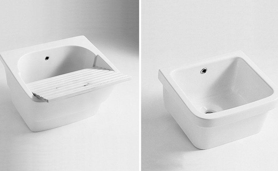Lavatoio, grossa e profonda vasca in ceramica