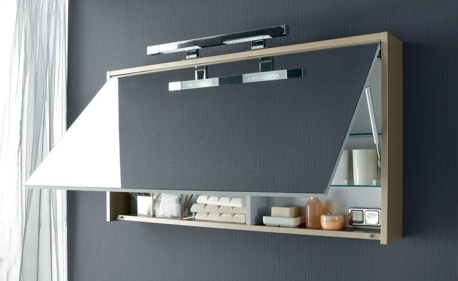 Specchio contenitore per piccoli bagni