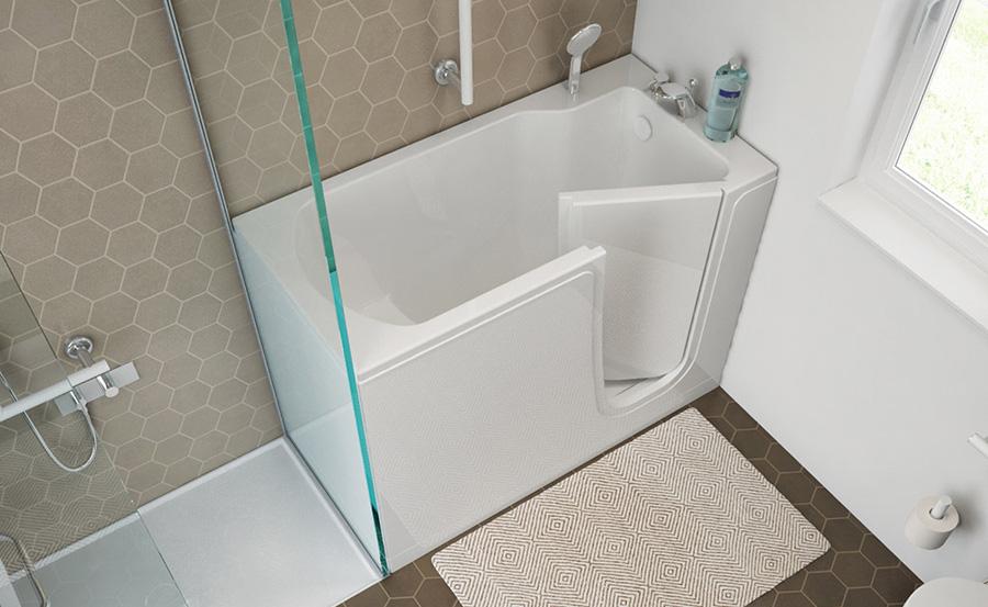 Bagno disabili e anziani come arredarlo in sicurezza - Vasca bagno con porta ...