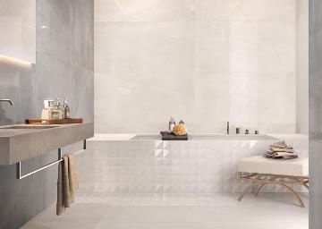Piastrelle bagno grande formato effetto pietra bagnoidea