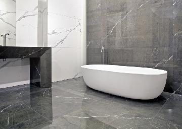 Gres porcellanato beton ivory casalgrande padana for Bagno effetto marmo