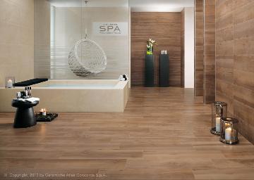 Piastrelle bagno in gres porcellanato effetto legno bagnoidea