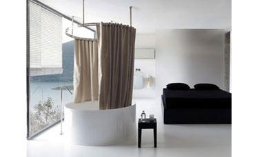 Lino trattato e un sistema originale per la tenda vasca - Tende per doccia in lino ...