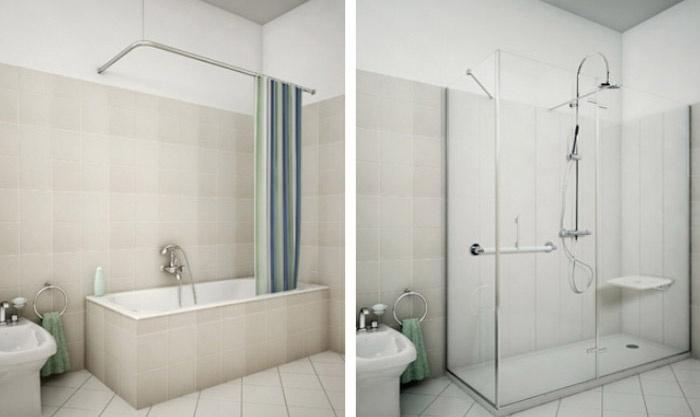 Sostituire la vasca da bagno con il box doccia grazie a - Da vasca da bagno a doccia ...