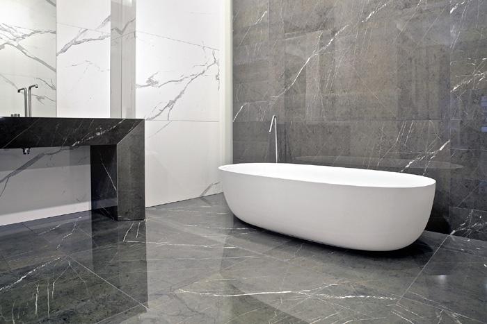 Gres porcellanato effetto marmo marmoker statuario grigio grafite casalgrande padana - Bagno effetto marmo ...