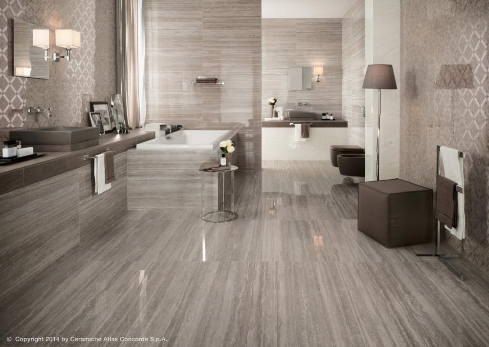 Gres porcellanato effetto marmo marvel pro travertino silver atlas concorde - Atlas concorde bagno ...