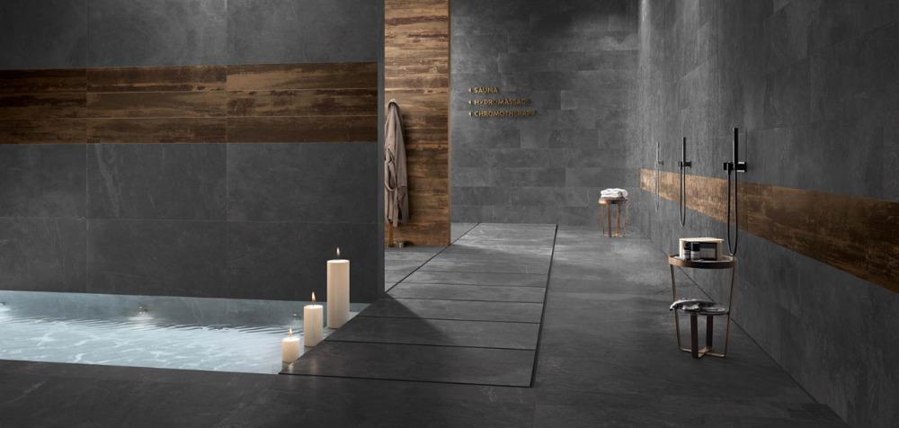 Gres porcellanato effetto pietra stonework ardesia nera ceramiche supergres - Rubinetteria bagno nera ...