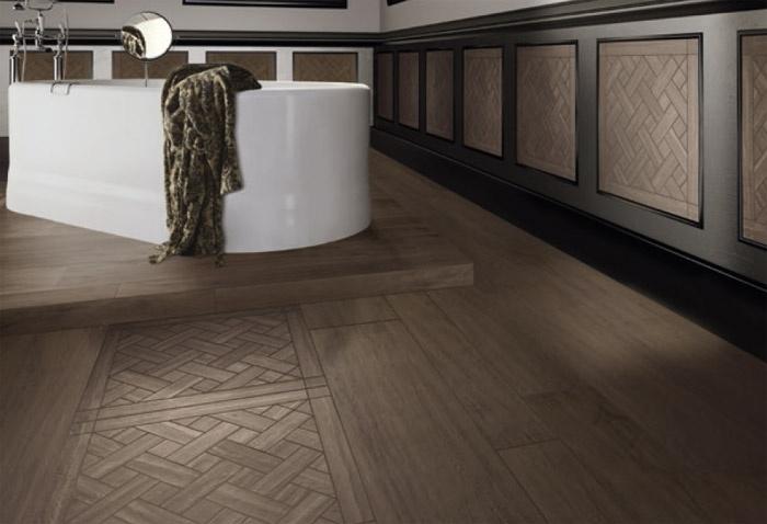 Gres porcellanato tavolato marrone scuro casalgrande - Bagni con pavimento in legno ...