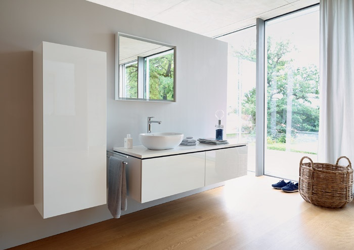 Mobile da bagno sospeso bianco lucido l cube duravit