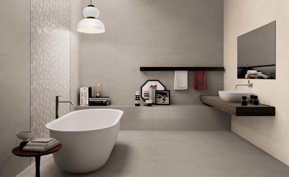 Pavimenti e rivestimenti effetto resina medley greige - Resina piastrelle bagno ...