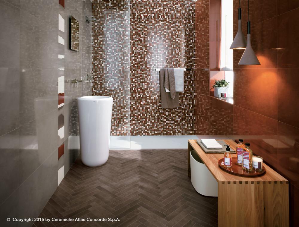 Pavimenti e rivestimenti dwell rust greige atlas concorde - Atlas concorde bagno ...