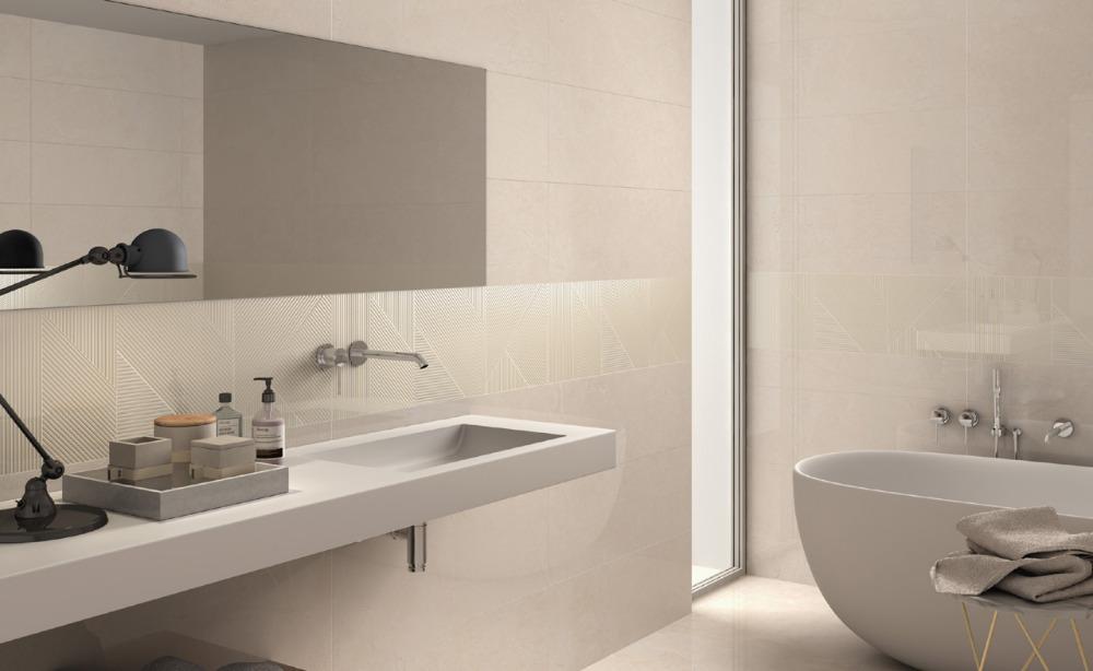 Pavimento e rivestimento effetto marmo purity of marble marfil ceramiche supergres - Rivestimento bagno effetto marmo ...