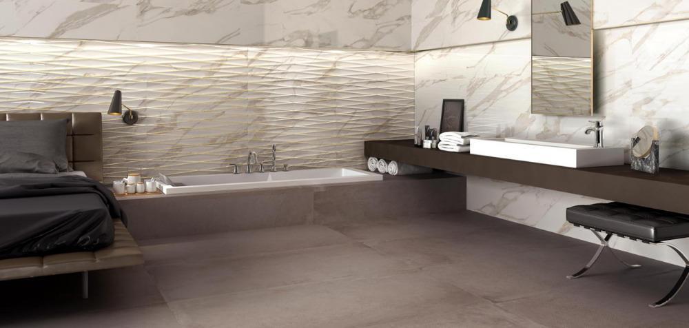 Pavimento e rivestimento effetto marmo purity of marble calacatta ceramiche supergres - Rivestimento bagno effetto marmo ...