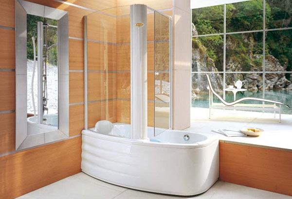 Simple jacuzzi with vasca e doccia for Camminare attraverso la doccia alla vasca