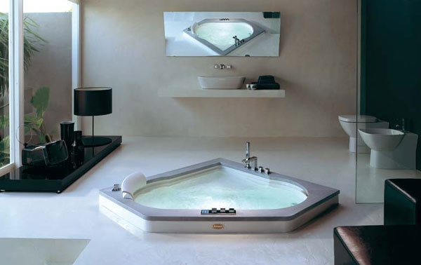 Vasca idromassaggio angolare aura corner 140 jacuzzi - Bagno con vasca angolare ...