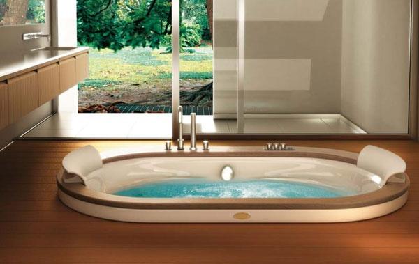 Vasca idromassaggio ad incasso con finiture in legno opalia wood jacuzzi for Vasche da bagno combinate